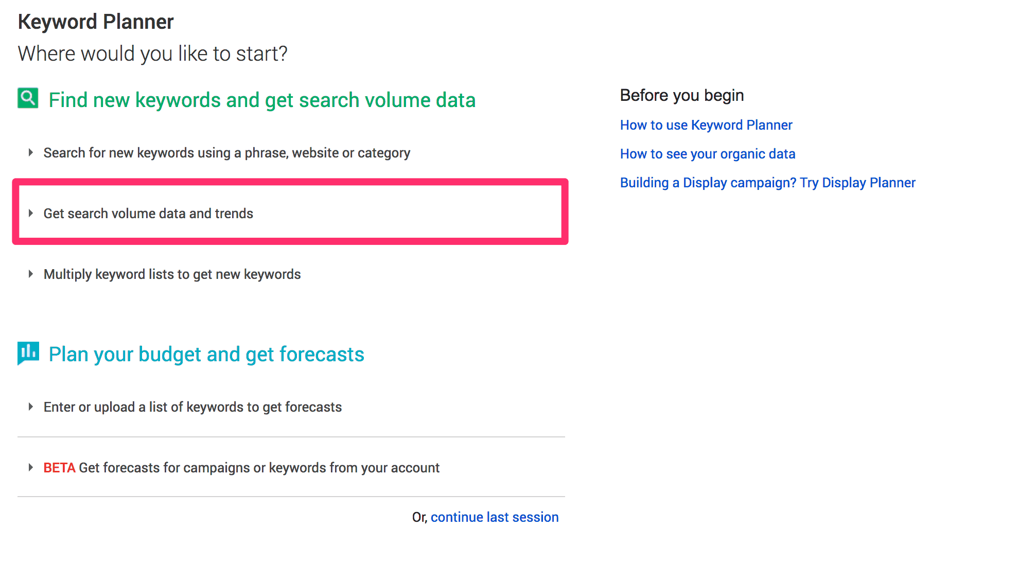 Accessing the Google Keyword Tool