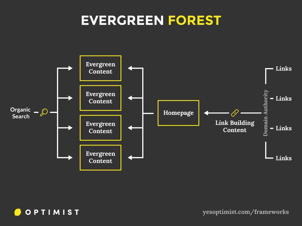 Framework for using content marketing to grow visibility of an evergreen forest and drive organic traffic to a website.