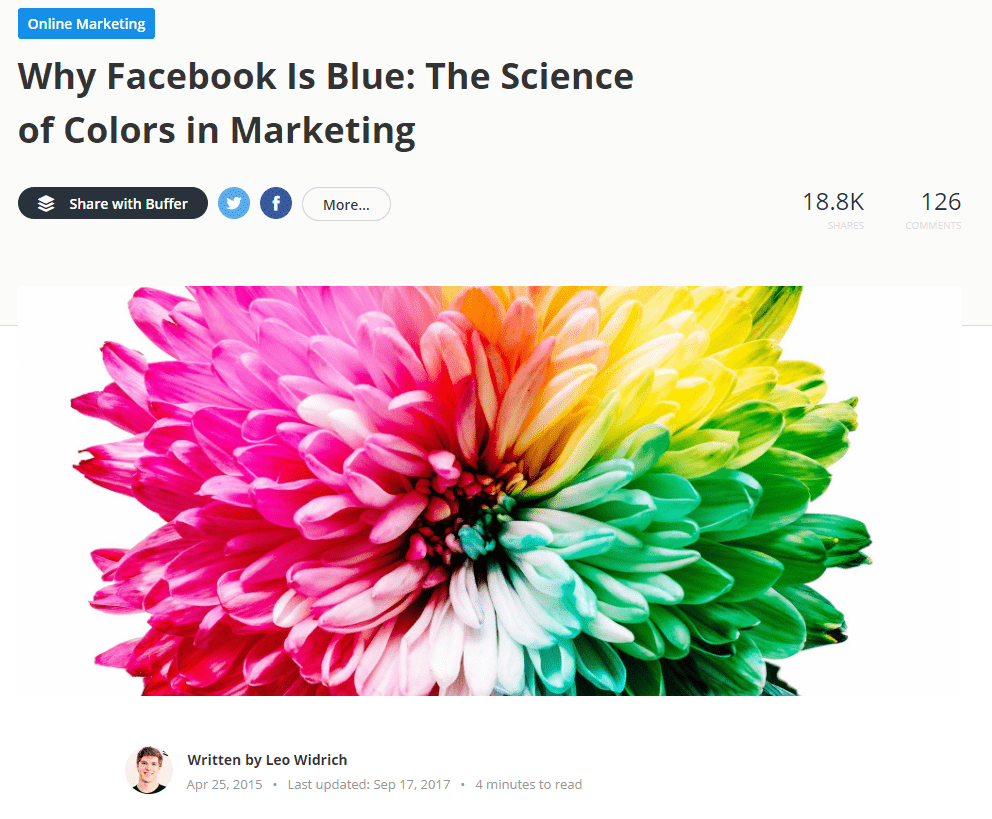 "Article from Buffer's blog, called ""Why Facebook Is Blue: The Science of Colors in Marketing"""
