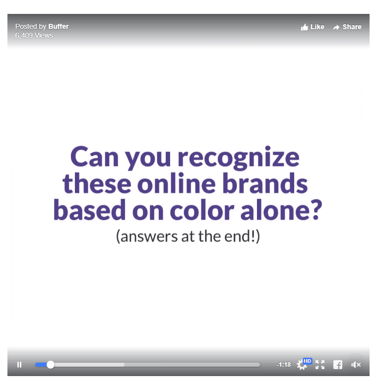 "Screenshot from Facebook, showing Buffer's video for ""Colors in Marketing"" article"