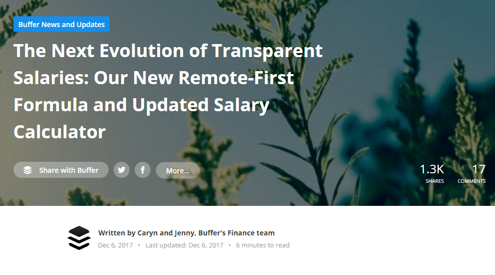 Article from Buffer's website, showing one of their transparency topics