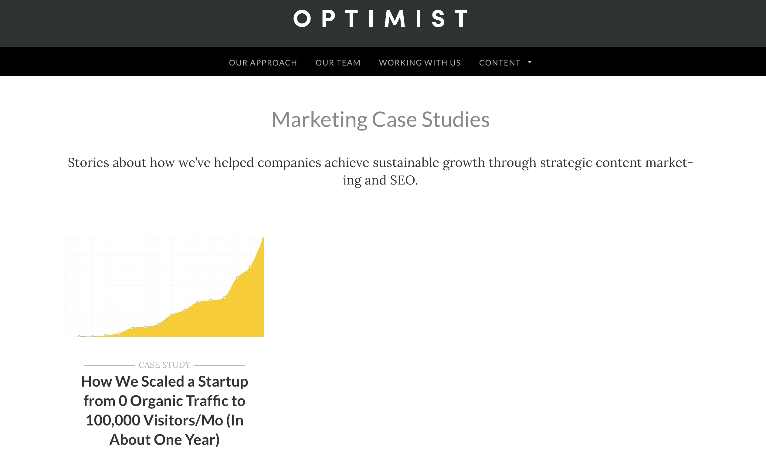 The only case study on the Optimist website