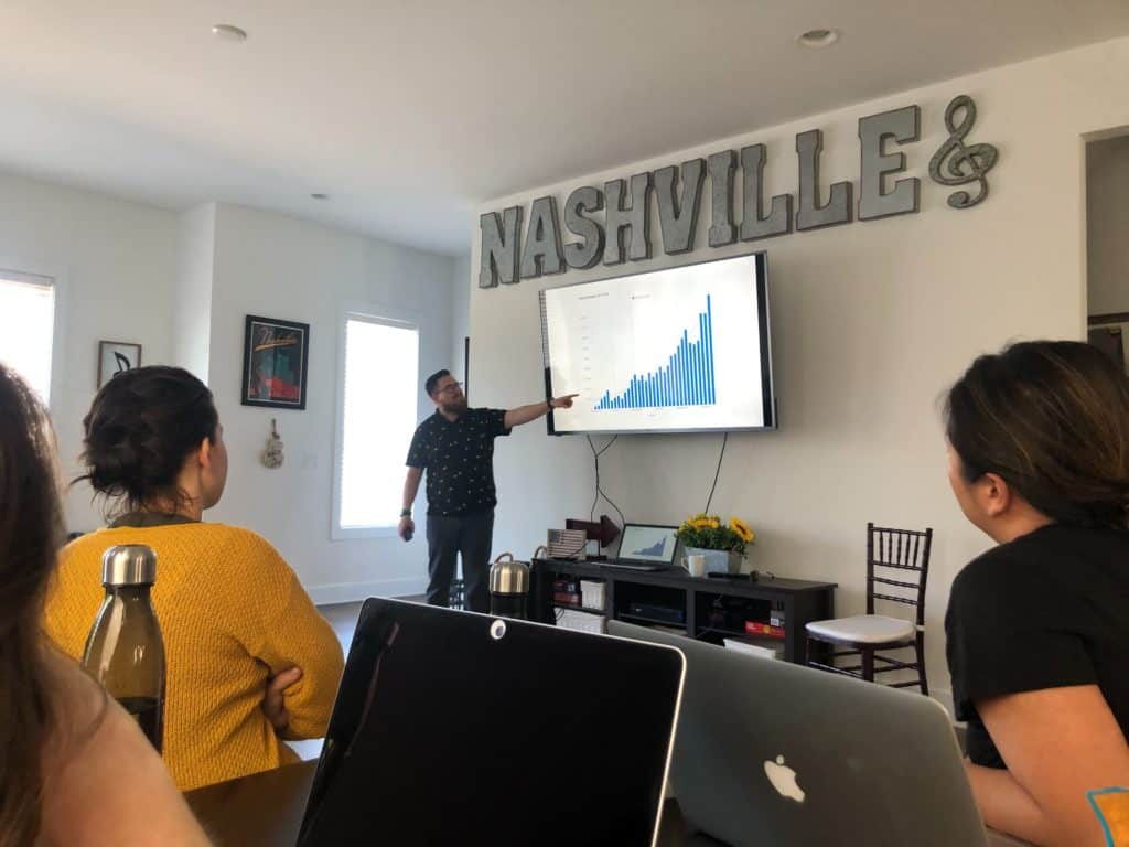 Photograph of me (Tyler Hakes) presenting to the team at our Nashville retreat.