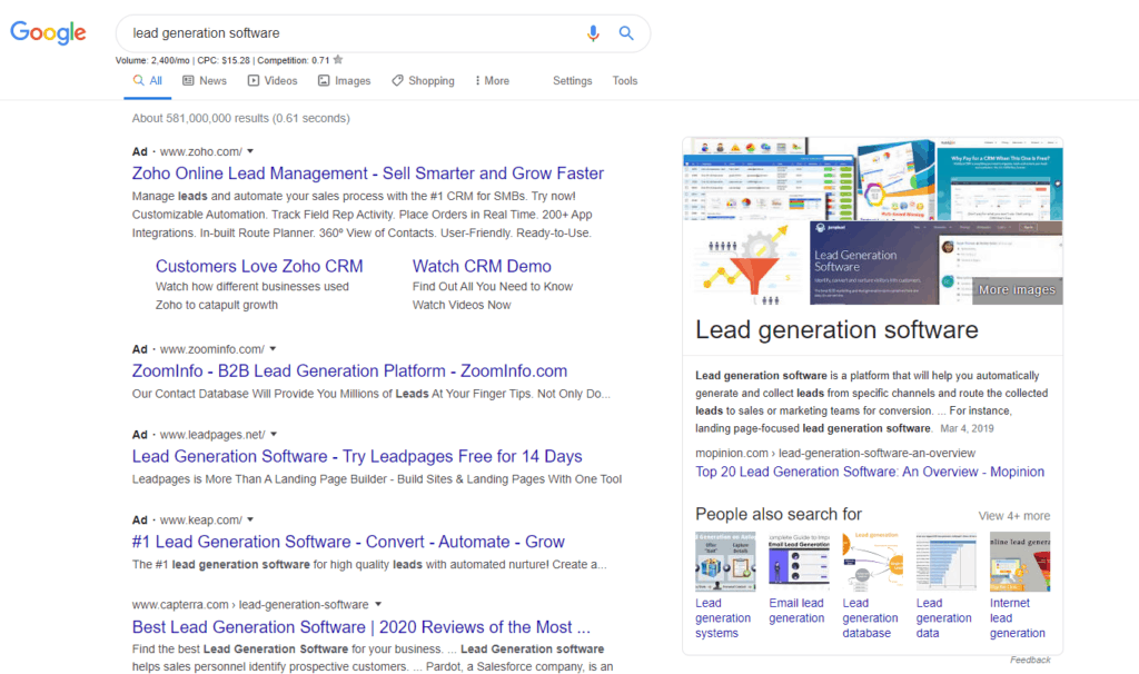 """Google search results for """"Lead Generation Software"""" is an example of a middle of the funnel query targeting higher-intent buyers."""